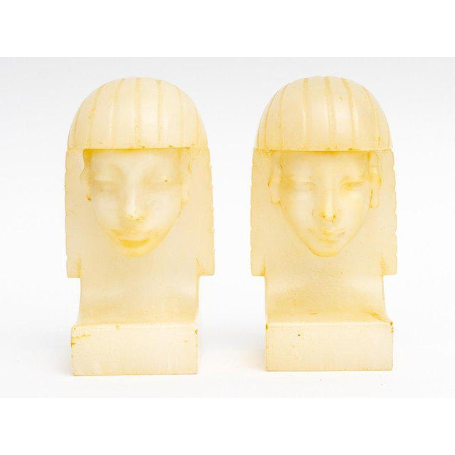 Egyptian Revival Art Deco Alabaster Bookends - a Pair For Sale - Image 10 of 11