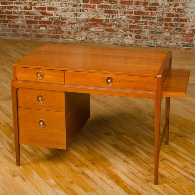 Mid-Century Walnut Desk With Side Extension Designed by John Van Koert for Drexel For Sale In Philadelphia - Image 6 of 13