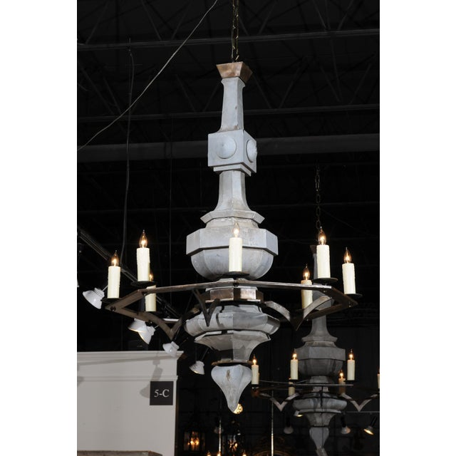 Grand Scale Contemporary Industrial Chandelier Made with 19th Century Zinc Finial For Sale In Atlanta - Image 6 of 11
