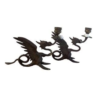 Antique Brass Griffin Dragon Gothic Candleholders- a Pair For Sale