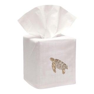 Beige Sea Turtle Tissue Box Cover in White Linen & Cotton,Embroidered For Sale