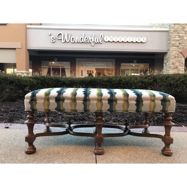 Jacobean style bench has been reupholstered in a Laura Kirar Highland Court velvet textile constructed of 100% viscose in...