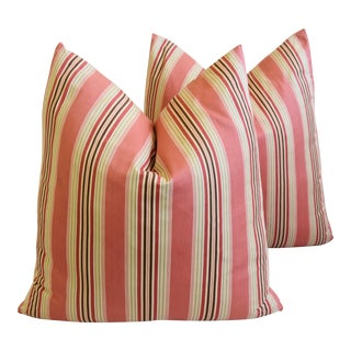 "French Multi Coral Striped Ticking Feather/Down Pillows 23"" Square - Pair For Sale"