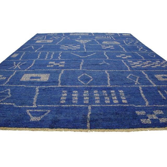 Bauhaus New Contemporary Blue Moroccan Area Rug With Modern Bauhaus Style - 12'4 X 15'3 For Sale - Image 3 of 10