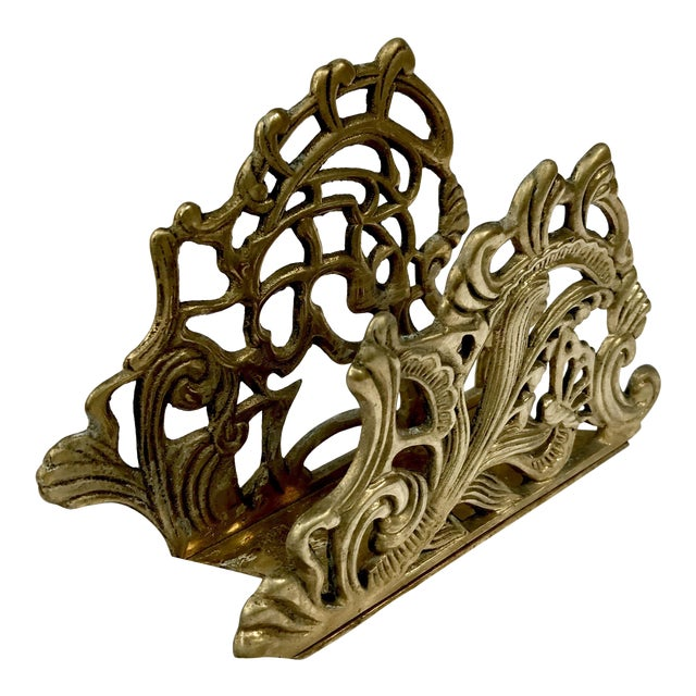 Mid Century Hollywood Regency Brass Letter Holder - Image 1 of 4