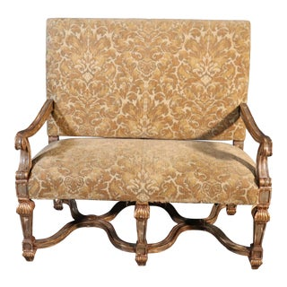French Louis XVI Style Gilded Paint Decorated Settee 2 of 2 Available For Sale