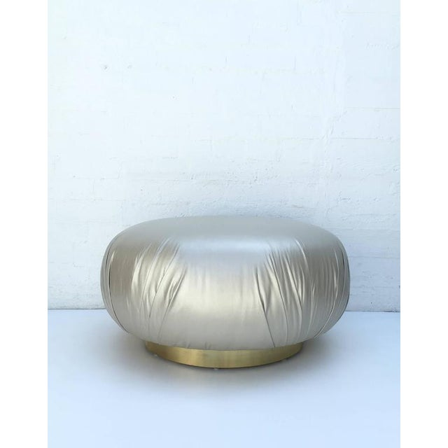 Steve Chase Brass and Leather Ottoman by Steve Chase For Sale - Image 4 of 8