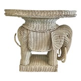 Image of 1960s Boho Chic Wicker Elephant Cocktail Table For Sale