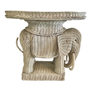 1960s Boho Chic Wicker Elephant Cocktail Table For Sale