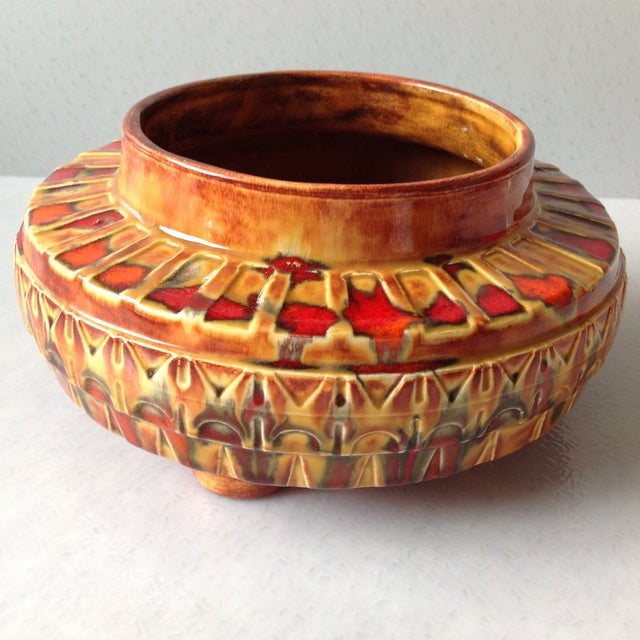 "1970s Brown and Red ""UFO"" Ceramic Planter - Image 3 of 11"