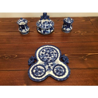 Gzhel Handpainted Blue & White Porcelain Shakers with Sugar Bowl & Tray - Set of 4 Preview
