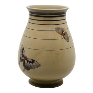 Maruni Asian Ceramic Hand Painted Butterfly Vase