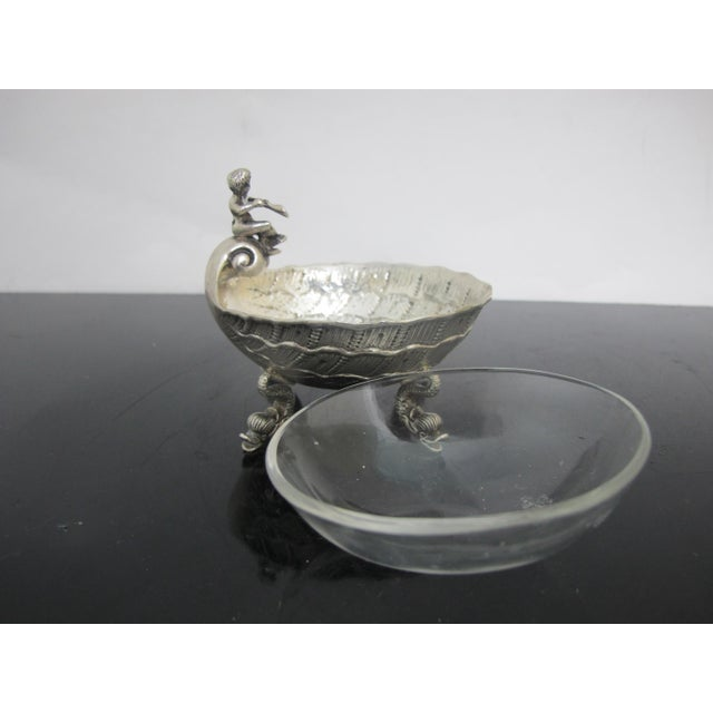 Antique German 800 Silver Figural Horn Player Dolphin Foot Salt Cellar Bowl For Sale In Portland, OR - Image 6 of 8