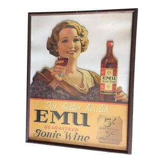 1930s Emu Tonic Wine Showcard Australia Poster