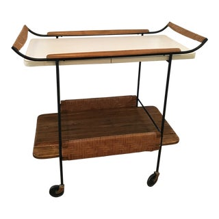 1950s Mid-Century Modern Arthur Umanoff Rattan and Wood Bar Cart For Sale