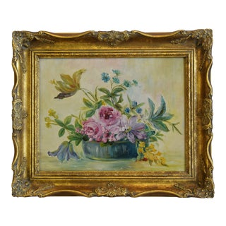 Early 1900s Colorful Floral Tablescape Still Life Oil Painting For Sale