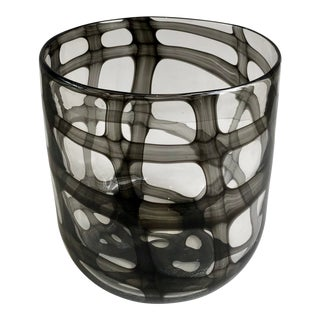 Black and Clear Checked Murano Vase For Sale