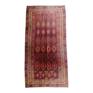 "1940s Vintage Turkish Kilim Rug-6'7'x12'11"" For Sale"