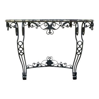 Antique French Victorian Ornate Wrought Iron Base Console Table For Sale