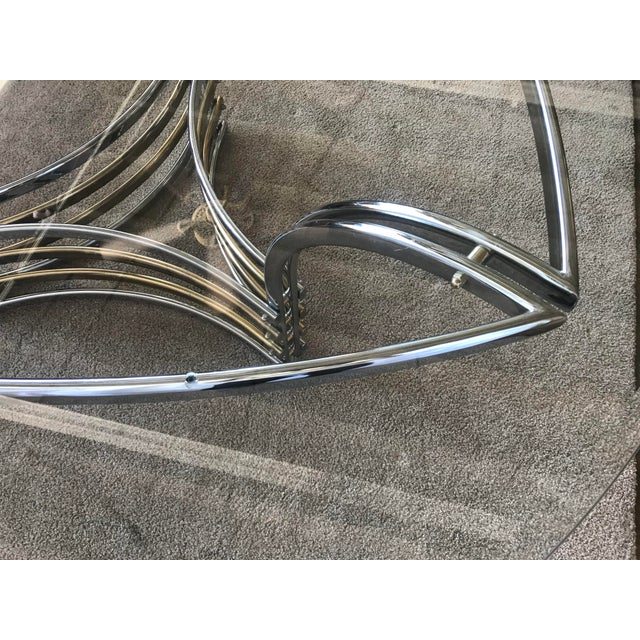 1980s 1980s Round Glass & Chrome/Brass Triangular Shape Dining Table For Sale - Image 5 of 13