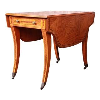 John Widdicomb Regency Inlaid Satinwood and Mahogany Saber Leg Pembroke Table For Sale