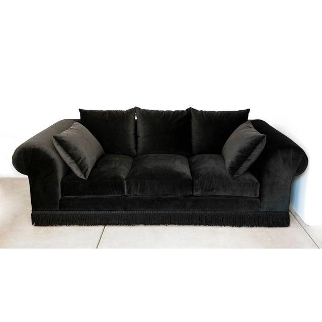 Black Velvet Roll Arm Sofa with Fringe For Sale - Image 5 of 5