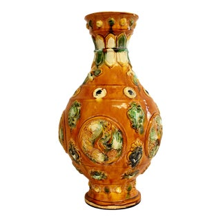 Vintage Chinese Pottery San Cai Glazed Vase With Bees For Sale