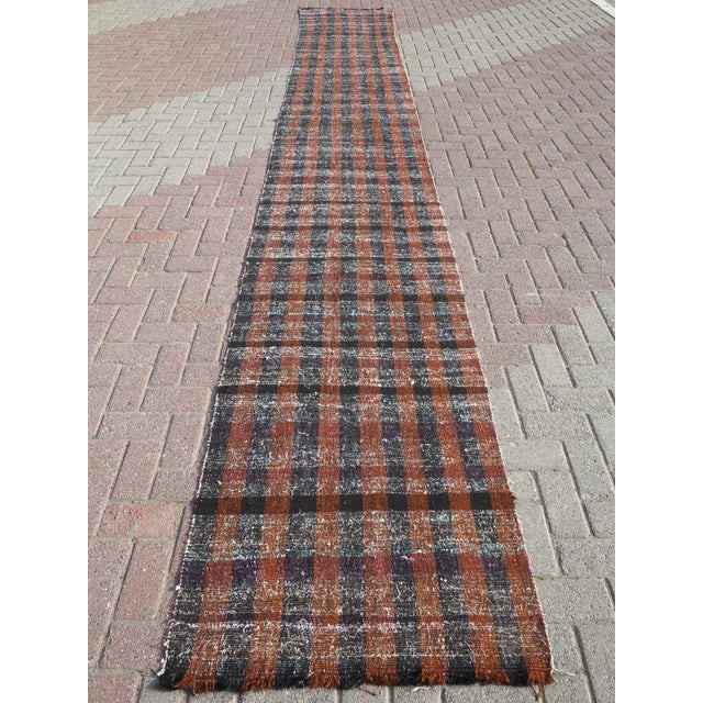 "Textile Vintage Turkish Kilim Runner2'7'x18'6"" For Sale - Image 7 of 13"