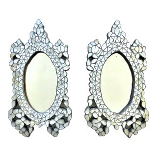 Vintage Oval Shape Mother of Pearl Inlaid Small Mirrors - a Pair For Sale