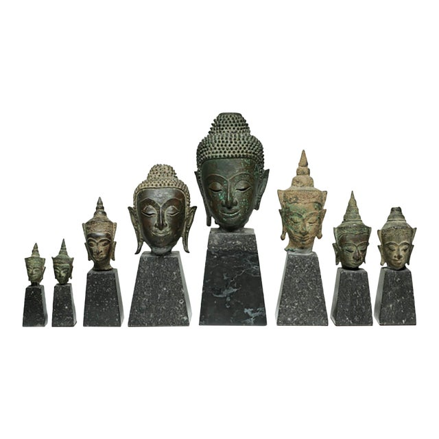19th Century Collection of Mounted Bronze Thai Buddha Heads, Circa 1800s For Sale