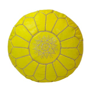 Moroccan Embroidered Yellow Leather Pouf