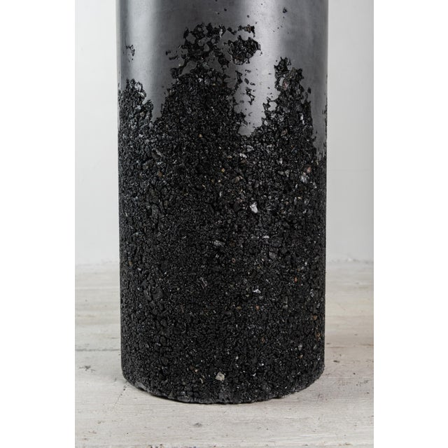 Hand Made Tourmaline and Black Plaster Tall Drum, Side Table by Samuel Amoia For Sale - Image 10 of 13