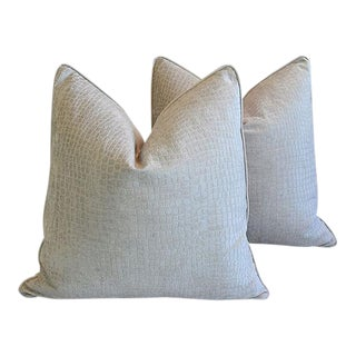 Boho Chic Silvery Ivory Velvet Crocodile Feather/Down Pillows - Pair