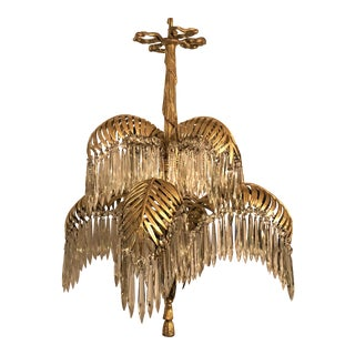 Antique French Belle Epoch Palm Chandelier, Circa 1890. For Sale