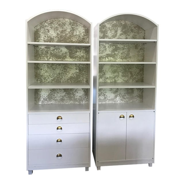 Mid-Century Modern Satin White and Zinc Cabinets - A Pair - Image 1 of 9