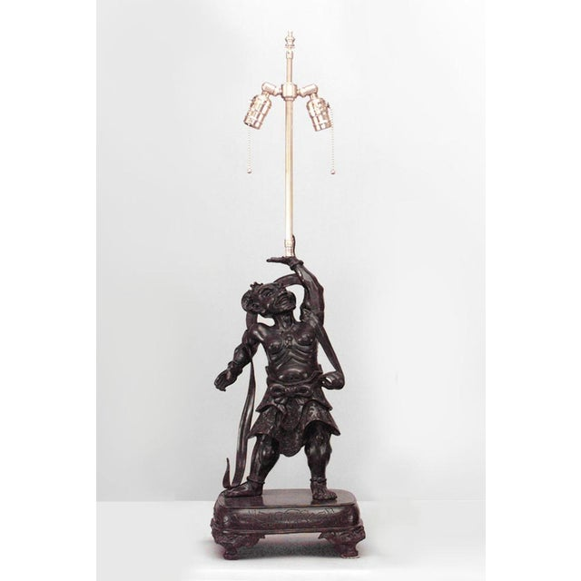 Mid 19th Century Asian Japanese Bronze Stylized Samurai Figure Table Lamps- A Pair For Sale - Image 5 of 6
