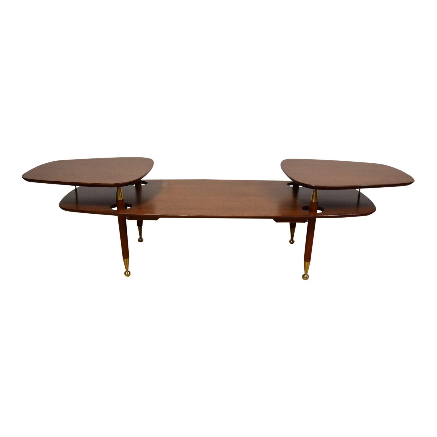 2 Tiered Mahogany Brass Coffee Table Chairish