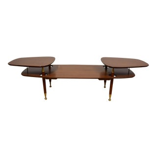 2-Tiered Mahogany & Brass Coffee Table For Sale