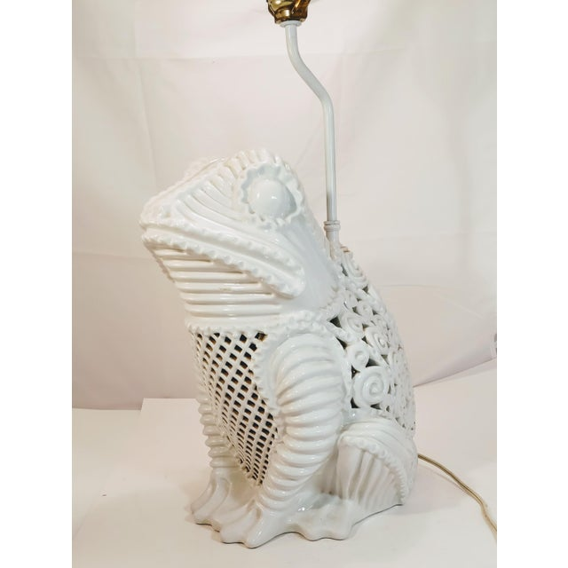 Vintage White Italian Frog lamp! Super hard to find and a standout item. A great white blanc de chine reticulated lamp!...
