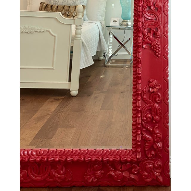 Modern Red Lacquer Carved Wood Italian Floor Dressing Mirror by Randy Esada Designs For Sale - Image 3 of 4