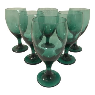 1960s Vintage Libbey Glass Wine or Water Goblets - Set of 6 For Sale