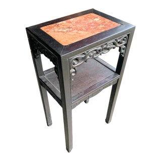 19th Century Chinese Marble Topped Hand Carved Side Table For Sale