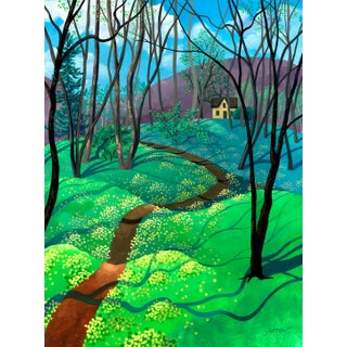 """""""Spring Begins With Yellow"""" Contemporary Landscape Giclee Reproduction by Wynn Yarrow For Sale"""