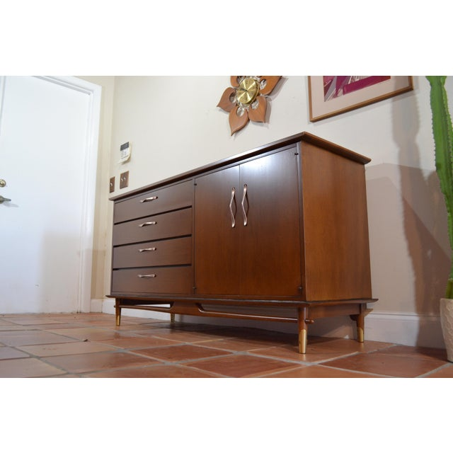 Mid Century Modern Credenza / Sideboard / buffet by Lane from their Copenhagen line. One drawer and shelf behind doors....