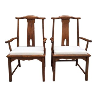 Pair of Asian Style Hardwood Side Chairs For Sale