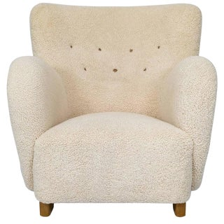 Scandinavian Sheepskin Lounge Chair For Sale