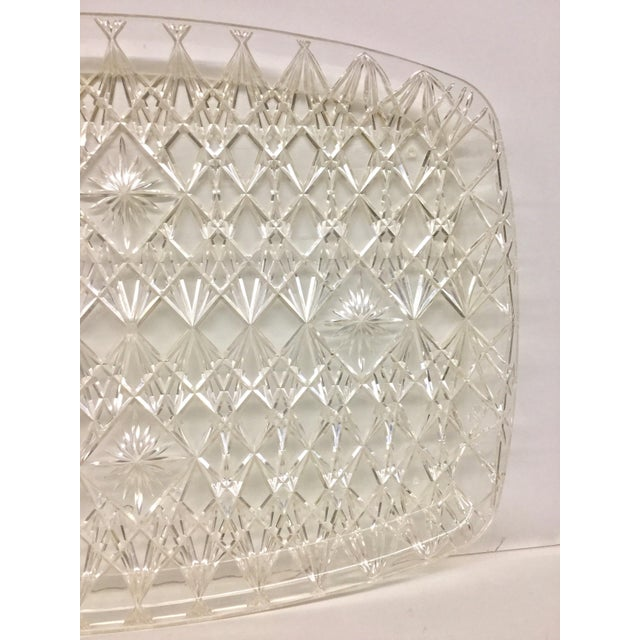 Large Vintage Clear Carved Lucite Serving Tray For Sale - Image 4 of 13
