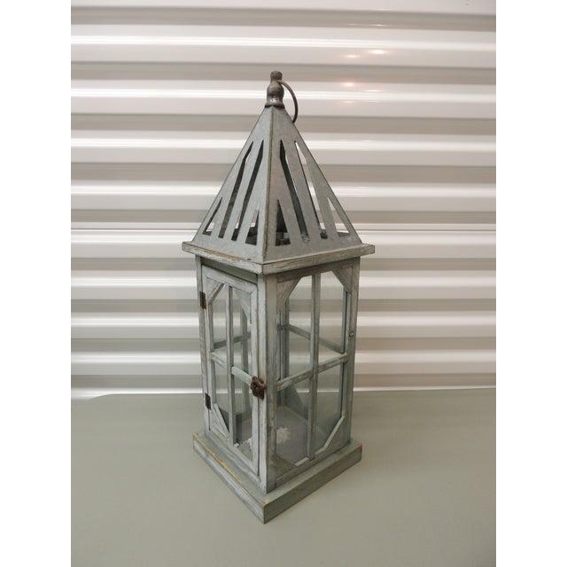 Tall Coastal Weathered Lantern For Sale - Image 4 of 4
