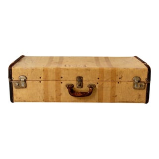 Vintage Striped Canvas Suitcase Circa 1930s For Sale