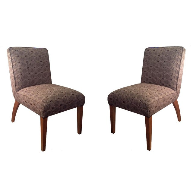 Side Chairs in Cream & Navy - A Pair - Image 1 of 3